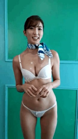 Asian chick in bra and panties acting cute with shiny breasts. Eimi Matsushima