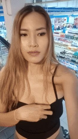 Asian Flashes small Tits in Supermarket