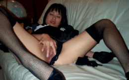 asian maid panties pulled to the side
