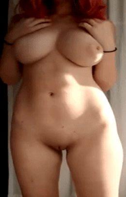 big tits red head