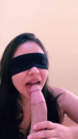 Blindfolded girlfriend