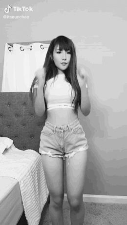 ItsEunChae dancing like a k-pop star, sexy Korean babe with hot legs, thighs, and hips