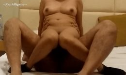 Sexy Asian Babe Enjoying Cock in Reverse Cowgirl Style, Bouncy Natural Boobs ! ~ Rex Alligator ~
