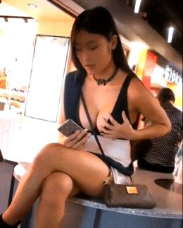 sexy asian touches her big tits in public Pintyou .com