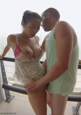 Asian babe Sharon Lee fucking on balcony
