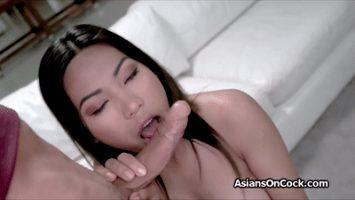 Asian Babe Sucking Dick
