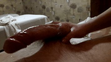 Asian honey oily handjob big white cock