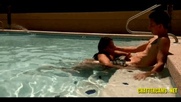 Asian Poolside Caught On Camera Blowjob