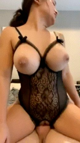 Asian riding dick with her tits out