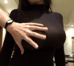 Fat Asian tits being groped.