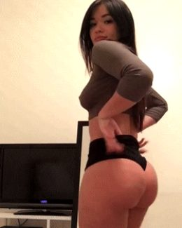 huge Asian ass in tight shorts