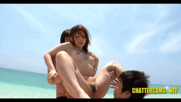 Sweet Asian Fucked By Two Guys On Public Beach